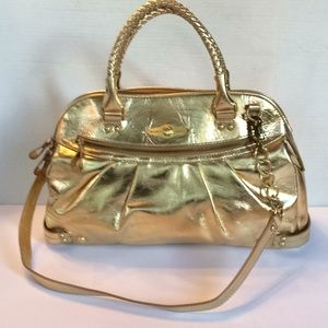 Elliot Lucca Gold Patent Leather Convertible Bag